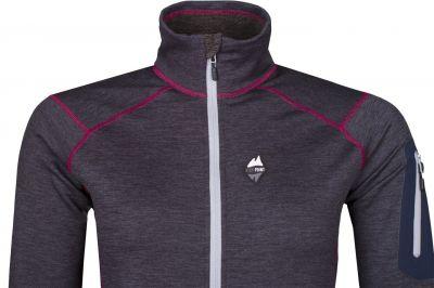 Woolion Lady Sweatshirt Antracit  light grey zip front detail