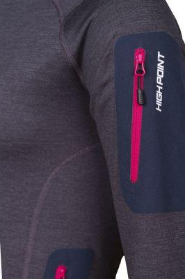 Woolion Merino Lady antracit cerise zip detail sleeve pocket