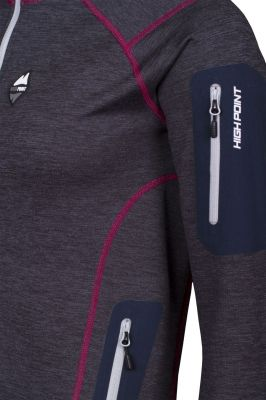 Woolion Merino Lady Sweatshirt antracit light grey zip detail sleeve pocket