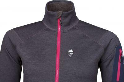Woolion Merino Lady Sweatshirt antracit_cerise zip detail