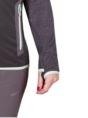 Merino Alpha Lady Hoody Jacket black_antracit - detail oko na palec