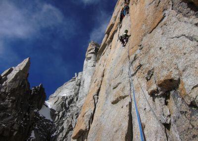 Lezení ve velké stěně v Alpách