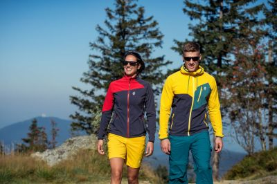 Drift Hoody Jacket yellow-carbon + Drift Lady Jacket carbon-red
