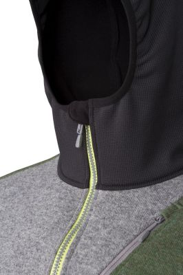 Woolcan 4.0 Hoody grey-fall green detail ochrana brady